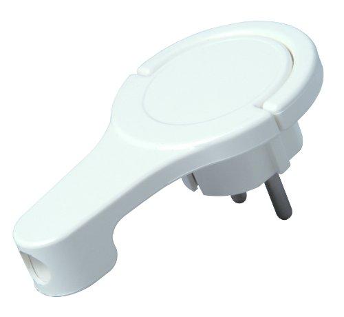 Kopp Schutzkontakt-Winkelstecker, extraflach aus Kunststoff (8mm Höhe), mit Klappgriff und Knickschutz, 250V (16A), für Kabel bis 3x1,5 mm², IP20, arktis-weiß, 172002037