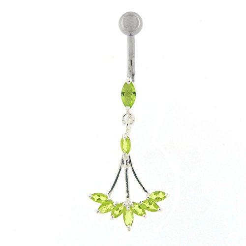 Fantaisie florale Chandelier Dangling Design argent 925 Sterling avec anneau de nombril en acier inoxydable Vert clair