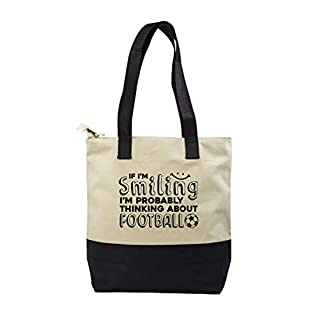 Hippowarehouse If I'm smiling I'm probably thinking about football Premium reusable eco friendly 100% cotton tote shopper bag for life 43cm x 33cm x 17cm