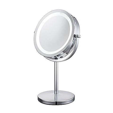 1/10X 360°Schwenkbar Beleuchteter Kosmetikspiegel Schminkspiegel Tischspiegel mit blendfreier LED Beleuchtung normal und 10-fache Vergrößerung 17,8 cm Durchmesser verchromt batteriebetrieb 17 helle LEDs