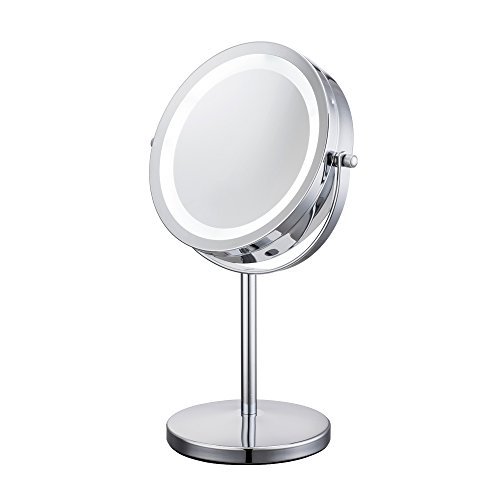 Maycho LED Kosmetikspiegel beleuchtet 1/10Fach Vergrößerungsspiegel - Doppel 17,8cm Durchmesser 360°schwenkbar Akku verchromt