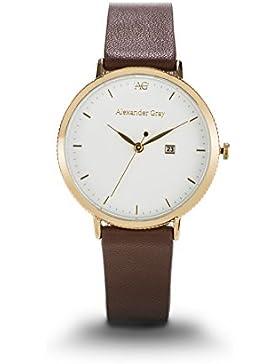 ALEXANDER GRAY Damenuhr VENEDIG – Vergoldete Armbanduhr mit edlem weichem Lederarmband und ultradünnem Gehäuse...