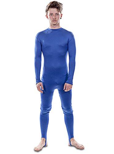 Luxus-Ausgabe: Blau Lycra Unitard Catsuit von Stretchy Suits (Männer: Groß)