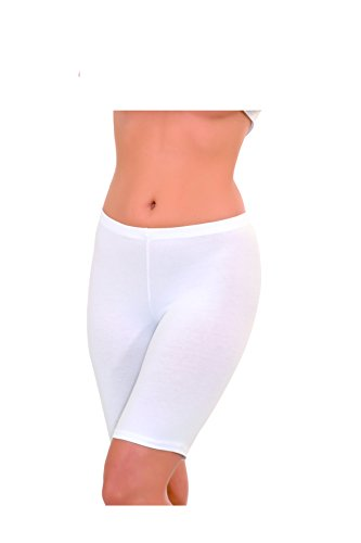 Damen Leggings- Kurze Leggings-Radlerhose-oberhalb des Knies -94% Baumwolle-Modal (M, weiss)