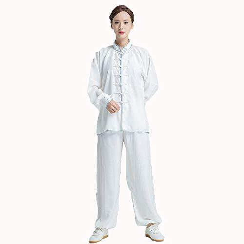 Tai Chi Kleidung Männer Und Frauen Modelle Baumwolle Langärmelige Atmungsaktive Kampfkunst Kleidung Tai Chi Leistung Morgen Sportkleidung,XXL-White
