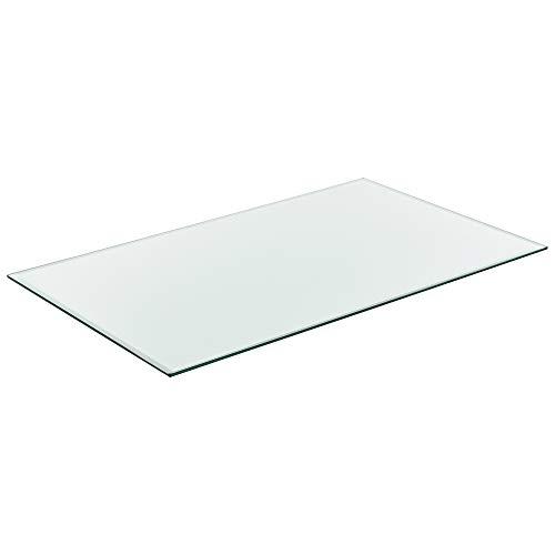 [neu.haus] Glasplatte 100x62cm Eckig Glasscheibe Tischplatte ESG Glas Kaminplatte Kaminglas DIY Tisch