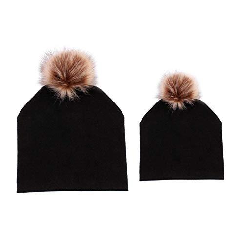 Coddington 2ST / Set Mutter Kids Pompom Beanie Caps Hüte Winter Herbst Beanie Skullies Mädchen Spitz Ski Caps Beanie Winter Ski Hut