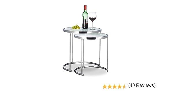53 x 44.5 cm ca. Decorativo Argento Ripiano in Vetro Struttura in Metallo Design Tavolo Basso Salotto Relaxdays Tavolino Rotondo