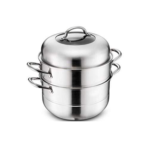 YXHUI Edelstahl-Dampfgarer-Set, Dampfgarer for die Haushaltsküche, geeignet for Gasherd/Induktionsherd/Allzweck, zusammengesetzter Bodendurchmesser 28 cm Optional - Silber Good Life, Good Taste.