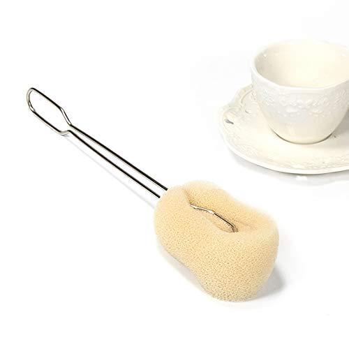 KOBWA Tassenreiniger Bürste Reinigung Abnehmbarer weicher Schwamm Edelstahl Langer Griff Glasflasche Küche Waschreiniger Werkzeug schnelltrocknend & langlebig