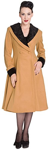 Hell Bunny VIVIEN Retro 50s SWING Collar COAT Mantel - Camel Rockabilly