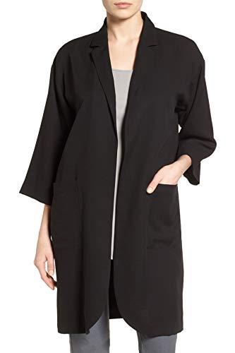 Eileen Fisher Women's Notch Collar Long Jacket, Black, X-Small -