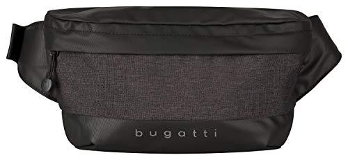 Bugatti Universum Gürteltasche Bauchtasche, Herren Hüfttasche für Reise, Alltag und Sport, Schwarz