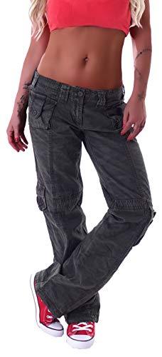 Damen Cargohose Cargo Jeans Hose Hüfthose Boyfriend Chino Army Camouflage XS 34 S 36 M 38 L 40 XL 42 Low rise gr größe size Khaki tasche stoffhosen ziertasche locker lässig camouflage army armee
