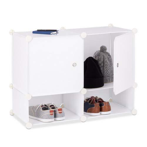 Relaxdays Regalsystem 4 Fächer, Standregal Kunststoff, Steckregal mit Türen, Badregal, HxBxT: 56 x 75 x 37 cm, weiß -