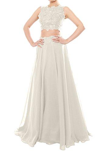 MACloth Women Two Piece High Neck Lace Chiffon Long Prom Dress Formal Party Gown (EU38, Marfil)
