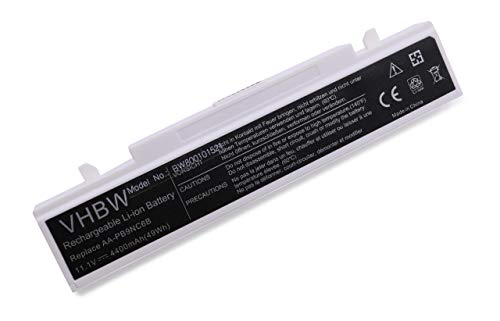 vhbw Batterie LI-ION 4400mAh 11.1V Blanc Compatible pour Samsung Q318, R468, R710, NP-R519, NP-R530, NP-R540, NP-RF510 etc. remplace AA-PB9NC6B