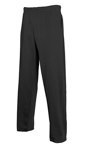 Fruit of the Loom Lightweight Open Hem Jog Pants in Black Größe: L (Loom Sweatpant)