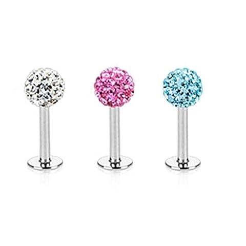 Paula & Fritz® Lot de 3 piercings labrets ornés de cristaux Monroe Ferido Longueur 6mm