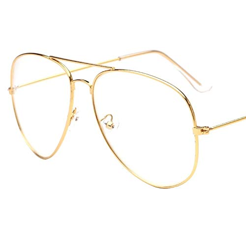 Aprigy - Mode Pilot Brille Frauen Lesebrille Herren-Sonnenbrillen Objektiv Jahrgang Metall Vollrand Transparente Gläser [D]