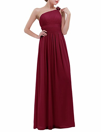 YiZYiF Women One Shoulder Chiffon Wedding Bridesmaid Long Maxi Dress Evening Prom Gowns Burgundy UK 10(Labeled US 6)