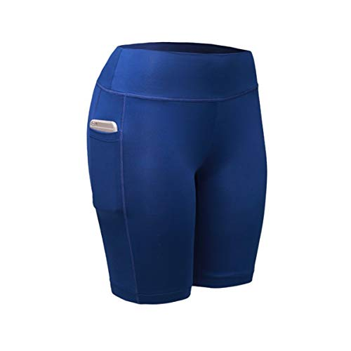 sion Shorts Quick Dry Skinny Elastic Breathable Skinny Stretchy Solid Short Pants Women Fitness Dry Female Blue M ()