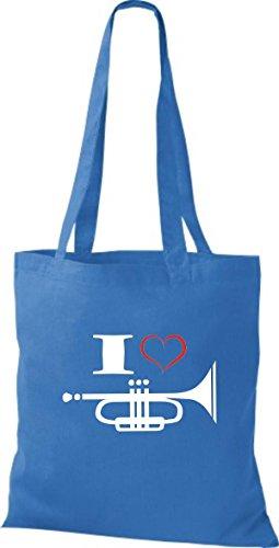 Shirtstown Pochette en tissu Musique I Love Trompette Bleu - Bleu roi