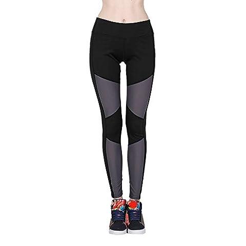 Loveso Yoga Pants Fitness Sport Gamaschen Patchwork Hohe Taillen Dünne Elasthan Yoga Hose (XL 29, Grau)