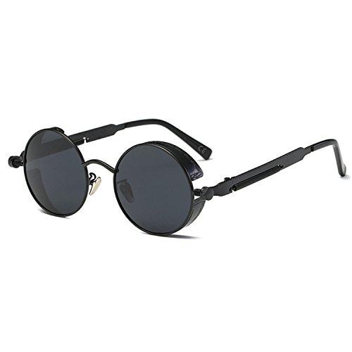 AMZTM Kleine Rund Verspiegelt Linsen Polarisiert Punk Sonnenbrille für Damen und Herren (Schwarzer Rahmen und graue Linse, 48)