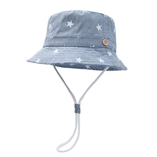 Foruhoo Baby Sonnenhut Kinder Hut, Sommerhut Mütze for Jungen Mädchen mit Verstellbar Kordelzug (52cm / 2-4 Jahre,Sterne blau)