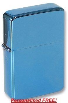 Personalised Cigarette Lighter, Blue Ice Finish, Personalised FREE, Birthday, Wedding
