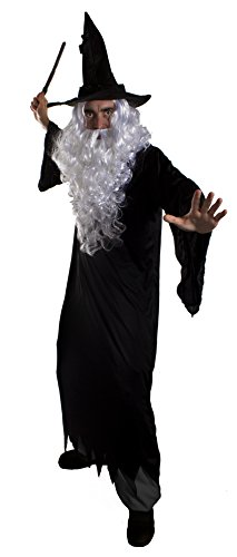 Dark Wizard Halloween Fancy Dress Kostüm für Herren - Schwarz Ragged Bademantel mit Kapuze + schwarz CROOKED Wizards Hat + Ast Look Zauberstab + Weiß Bart & Perücke von Ilovefancydress® - Middle Earth Zauberer Magier Sorcerer - XXL (Halloween Fancy Paare Dress Ideen)