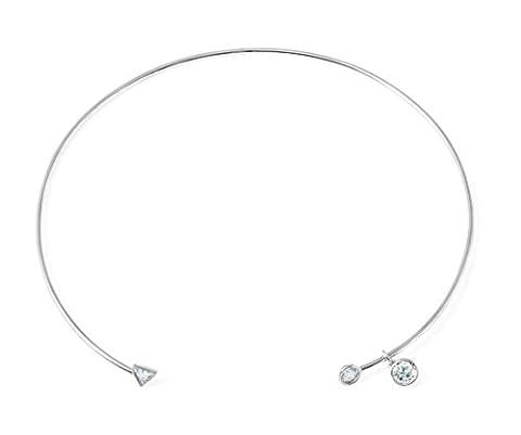 CRISLU Women's 925 Sterling Silver Round and Triangle Clear Cubic Zirconia Drop Choker