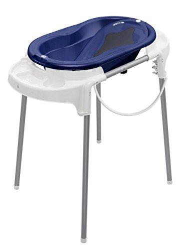 Rotho Babydesign Badeset mit Wanne und höhenverstellbarem Funktionsständer, 0-12 Monate, Pearl blue (Blau), TOP Badestation, 21042000101