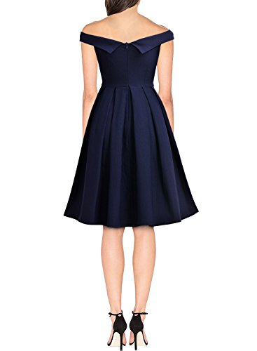 MIUSOL Damen Retro Cocktailkleid 1950er Off Schulter Schwingen Vintage Rockabilly Kleid Navy Blau Gr.M -