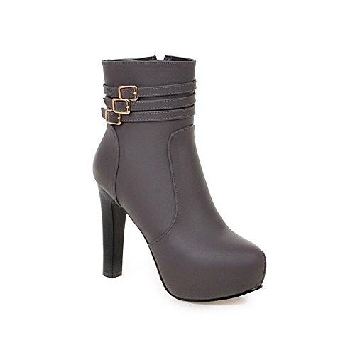 VogueZone009 Donna Tacco Alto Bassa Altezza Puro Stivali con Fibbia Grigio
