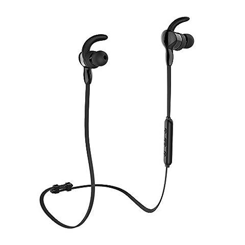 Bluetooth Kopfhörer aminy IPX7Wasserdicht Headset Bluetooth 4.1Kabellose Kopfhörer Sport Stereo-Ohrhörer Nackenbügel mit Mikrofon für Running Musik kompatibel mit iOS, Android, Smartphones und Bluetooth Geräte, schwarz
