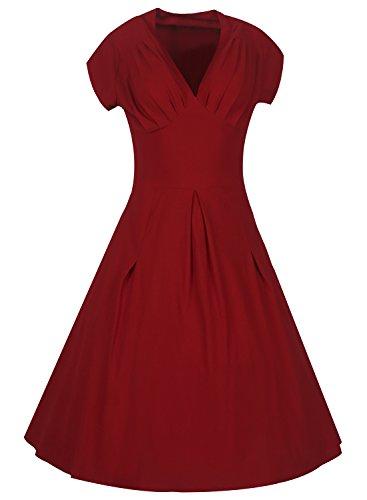 Whoinshop Damen Elegant Vintage 50er Jahre Kleid 3/4 Arm Rockabilly Business Ballkleid Stretch Cocktailkleid Rot