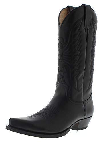 Sendra Boots Damen Herren Cowboy Stiefel 2073 West Lederstiefel Schwarz 42 EU