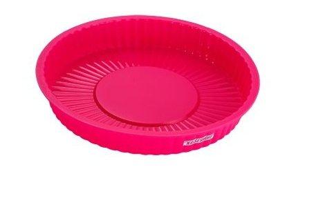 Silikon Backform Ø 24 x H 3,5 cm, rund, Tortenform, spülmaschinenfest, unzerbrechlich, Kuchenbackform und Dessertform, pink