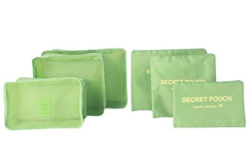 6 buste impermeabili, per vestiti e oggetti, di forma squadrata, ideali per viaggio verde Green