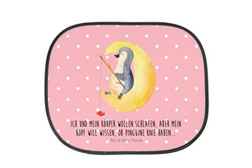 Mr. & Mrs. Panda Kinder, Geschenk, Auto Sonnenschutz Pinguin Mond mit Spruch - Farbe Rot Pastell