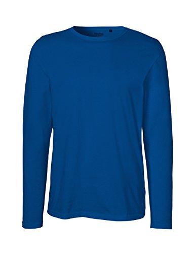 Green Cat- Herren Langarm T-Shirt, 100% Bio-Baumwolle. Fairtrade, Oeko-Tex und Ecolabel Zertifiziert, Textilfarbe: blau, Gr.: L