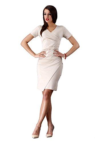 Kleid Elegant Abendkleid Mini Kleid Gr. 36 38 40 42 S M L XL, M72 Beige