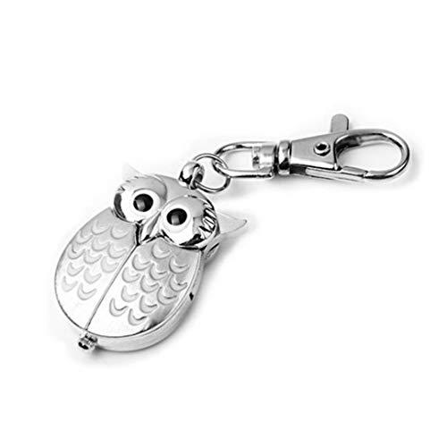 Weinlese-Große Augen-Eulen-Vogel Keychain Taschen-Uhr-Uhr-Schlüsselring-Quarz-Dial-Mann-Frauen-Uhr Miniuhr (Hat Männer Owl)
