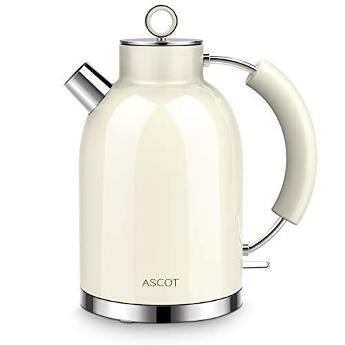 Wasserkocher Edelstahl, ASCOT Elektrischer Wasserkocher, 2200W, 1,6L, Retro Design, BPA frei, leiser Schnellkochkessel, kabelloser Teekessel, Trockengehschutz und automatische Abschaltung,(beige)