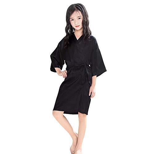 Kleinkind Kinder Mädchen Bademantel Baby Nachtwäsche Kleidung,Tonsee Einfarbig Silk Satin Kimono Roben Weich Bequem Pyjamas Nachthemd Kleider mit Gürtel (2-3 T, Schwarz) - Schwarzer Bär Nachthemd