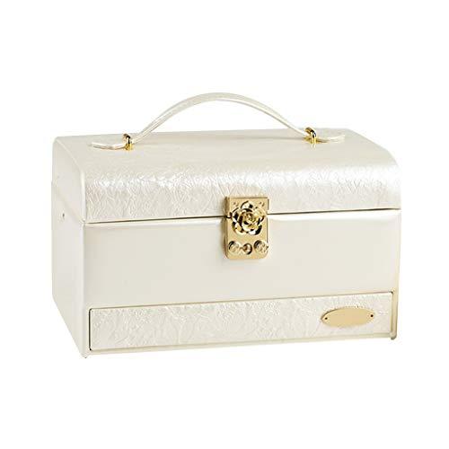 Beauté Portable PU cuir verrouillables bijoux de style européen cosmétiques affichage Organisateur Case conteneur Boîte