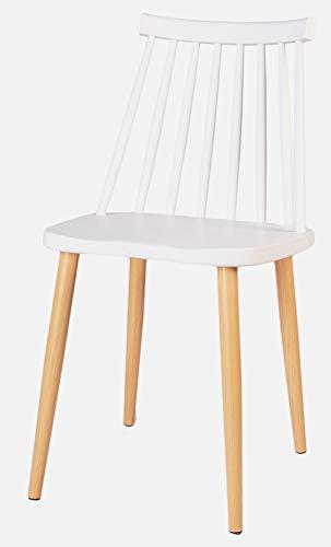 Enrico coveri contemporary sedia moderna con struttura in metallo e plastica, poltrona perfetta per sala da pranzo, salone e cucina (bianco, 1)