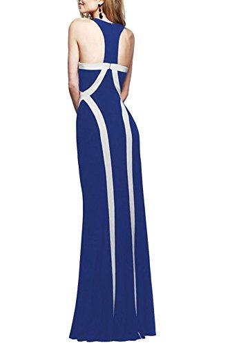 Robe de soirée Maxi féminin élégant Patchwork Colorblock Swing blue